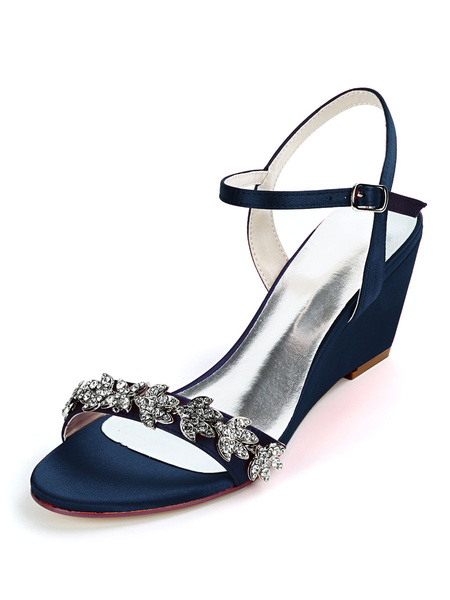 Milanoo Ivory Wedding Shoes Satin Rhinestones Open Toe Wedge Heel Bridal Shoes
