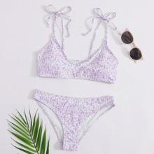 Bikini Badeanzug mit ueberallem Muster und Selbstband