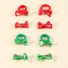 8 piezas accesorio de pelo de niñitas con lazo de Navidad