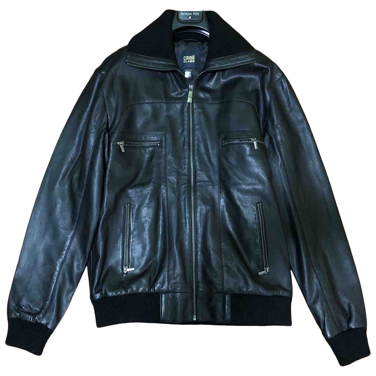 Class Cavalli \N Black Leather jacket  for Men 48 IT