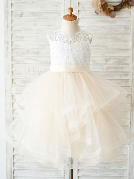Milanoo Flower Girl Dresses Jewel Neck Multi-Layer Lace Bodice Kids Social Party Dresses