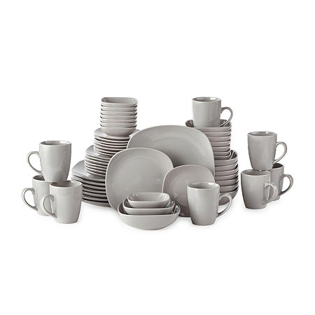JCPenney Home 56-Pc Gray Dinnerware Set, One Size , Gray