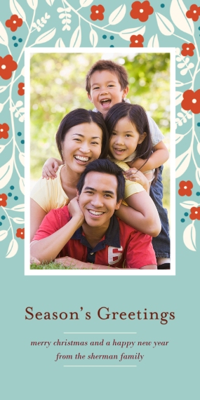 Holiday Photo Cards Flat Matte Photo Paper Cards with Envelopes, 4x8, Card & Stationery -Flower Season's Greetings