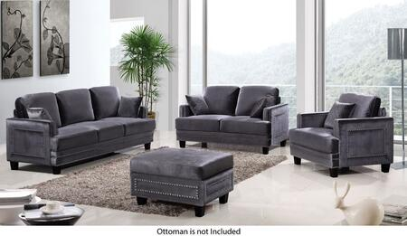 Ferrara Collection 654-GRY-S-L-C 3 Piece Living Room Set with Sofa + Loveseat and Chair in
