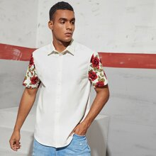 Men Floral Print Sleeve Shirt