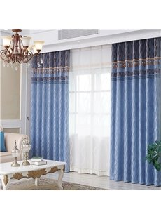 Modern Style Lake Blue High Quality Thick Blackout 2 Panels Grommet Top Curtains