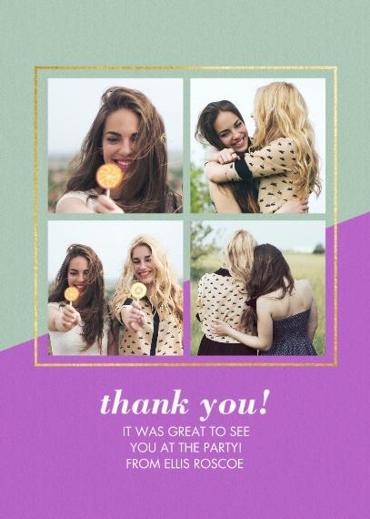Birthday Thank You 5x7 Folded Cards, Premium Cardstock 120lb, Card & Stationery -Birthday Celebration Funky Garland - Tha