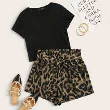 Solid Tee & Leopard Print Paperbag Shorts Set