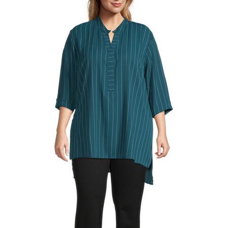 Worthington-Plus Womens Y Neck 3/4 Sleeve Tunic Top, 3x , Black
