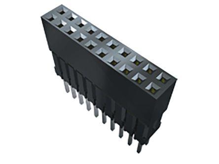 Samtec , ESQ 2.54mm Pitch 26 Way 2 Row Straight PCB Socket, Through Hole, Solder Termination (17)