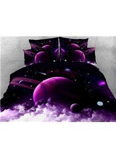 Purple Galaxy Duvet Cover Set 3D Printed 4-Piece Universe Bedding Sets