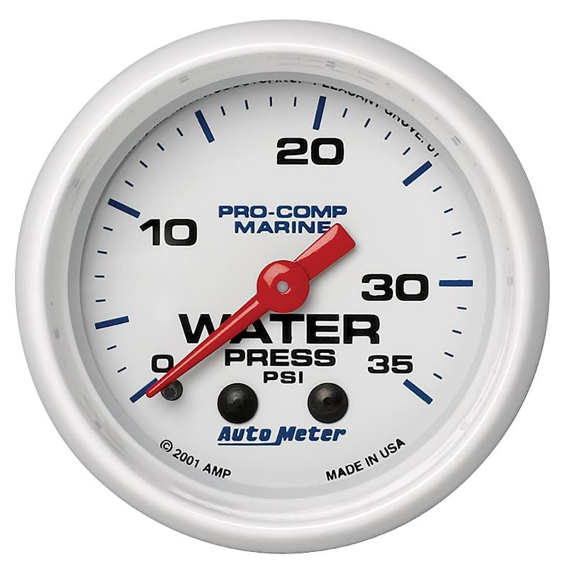 AutoMeter GAUGE; WATER PRESS; 2 1/16in.; 35PSI; MECHANICAL; MARINE WHITE