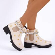Chelsea Stiefel mit Edelstein Dekor und Stern Stickereien