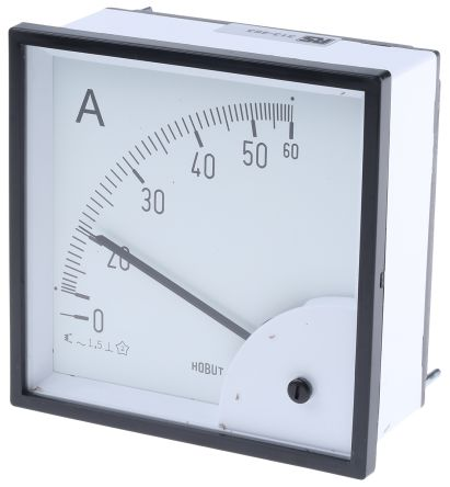 HOBUT D96SD Analogue Panel Ammeter 0/60A Direct Connected AC, 96mm x 96mm Moving Iron