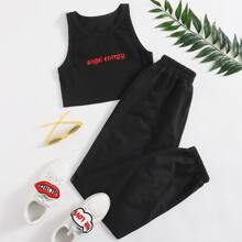 Letter Embroidery Crop Tank & Pants