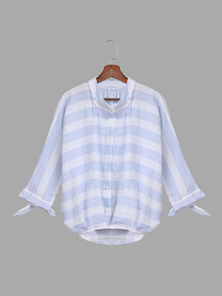 Yoins Blue Stripe Pattern Shirt In Sweet design