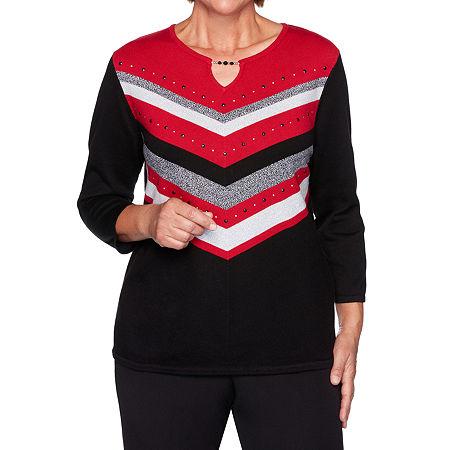 Alfred Dunner Knightsbridge Station Womens Keyhole Neck 3/4 Sleeve Layered Sweaters, Large , Black
