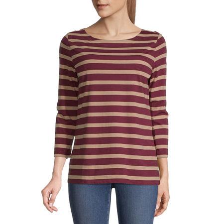 St. John's Bay-Womens Boat Neck 3/4 Sleeve T-Shirt, X-small , Red