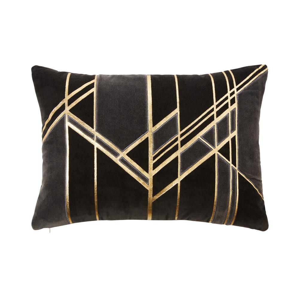 Kissen aus grauem Samt mit goldfarbenen grafischen Motiven 35x50