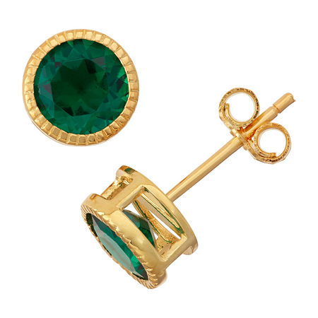 Lab-Created Emerald 14K Gold Over Silver Stud Earrings, One Size , No Color Family