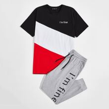 Conjunto camiseta de color combinado con estampado de slogan con pantalones deportivos