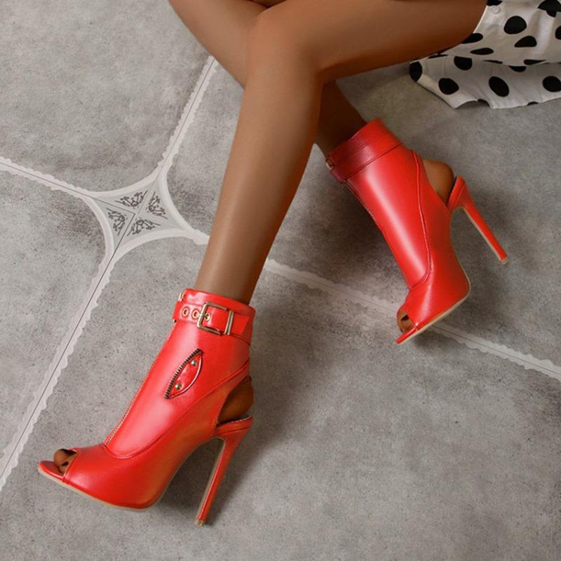 Ericdress Front Zipper Plain Stiletto Heel Buckle Boots