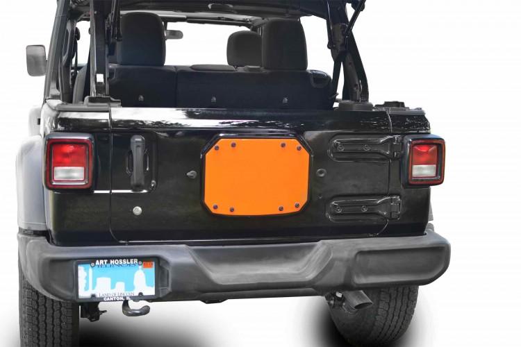 Steinjager J0048211 Spare Tire Carrier Delete Plate Wrangler JL 2018 to Present Fluorescent Orange