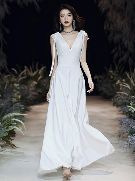 Milanoo Evening Dress A-Line V-Neck Floor-Length Sleeveless Zipper Bows Satin Fabric Prom Dress