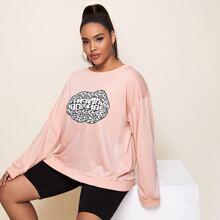 Plus Leopard Mouth Print Sweatshirt