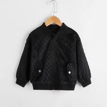 Toddler Girls Solid Zip Up Bomber Jacket