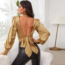 Pleated High Neck Cut-out Tie Back Satin Top