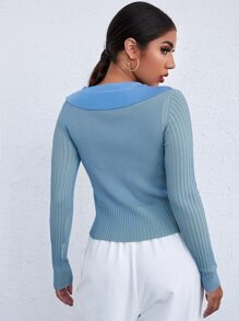 Button Front Tight Hem Sweater