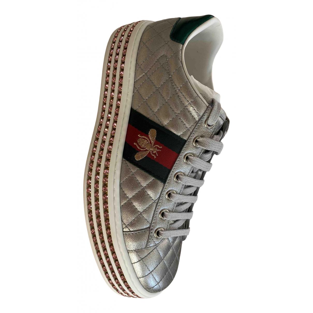 Gucci Ace Sneakers in  Grau Leder