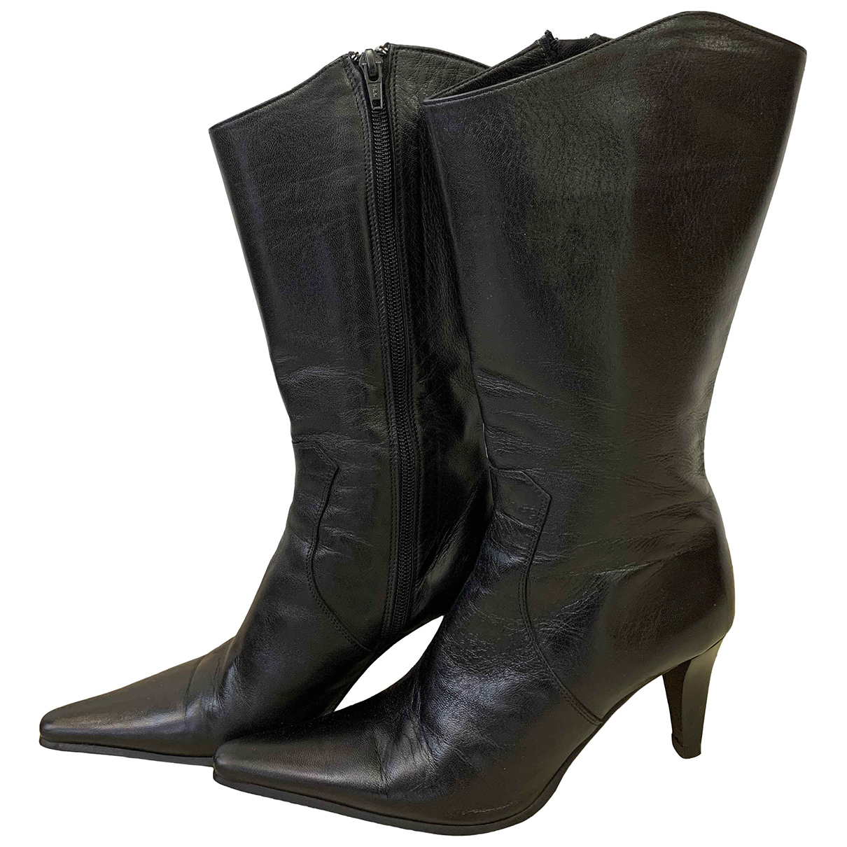 Non Signé / Unsigned N Black Leather Boots for Women 35 EU