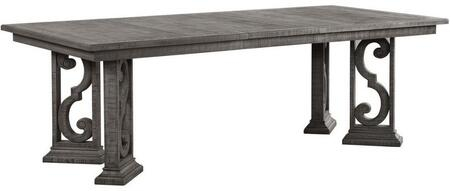 Artesia Collection 77090 72 - 90 Extendable Dining Table with Rectangular Shape Wood Top  Scrolled Motifs Base  Contemporary Style  Poly Resin