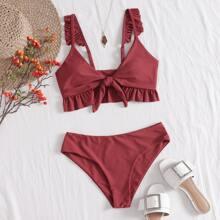 Bikini Badeanzug mit Knoten vorn und Ruesche