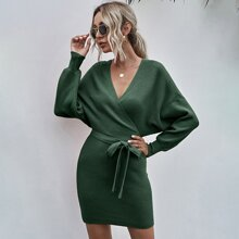 Solid Surplice Front Belted Ribbed Knit Dress