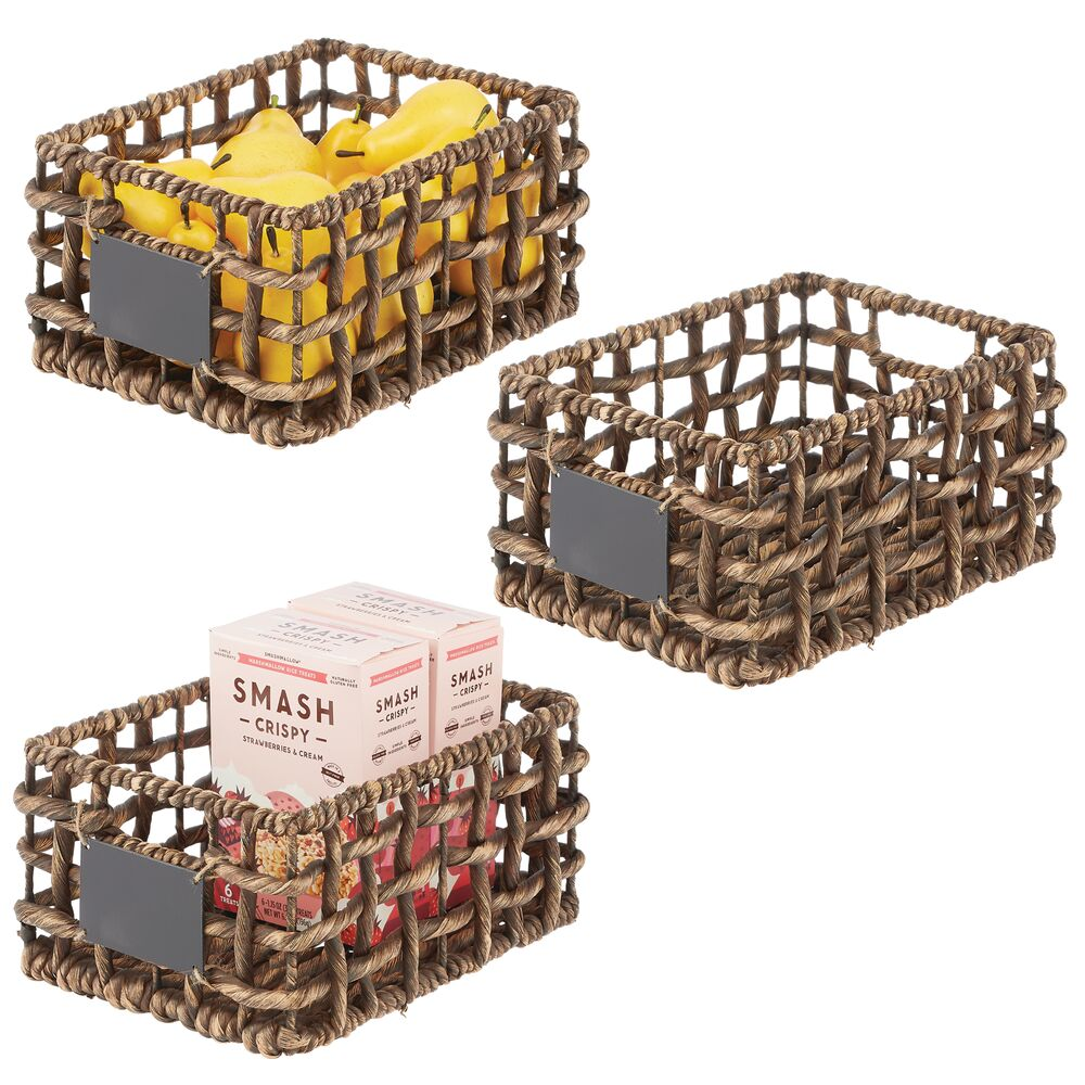 Open Weave Hyacinth Storage Boxes for Kitchen Pantry - Set of in Brown, by mDesign