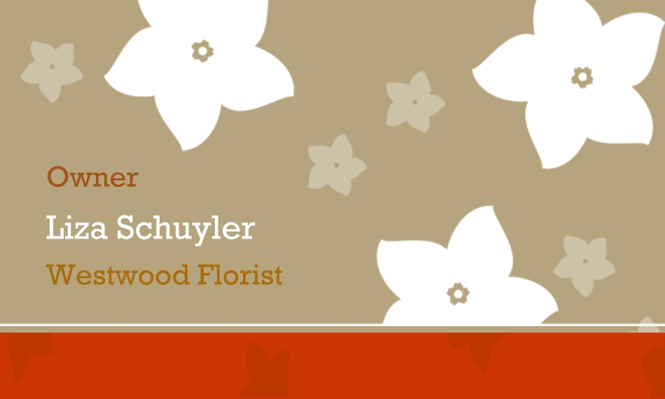 Everyday Business Card Holder, Gift -Taupe Flowers