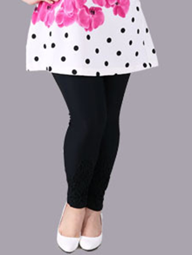 Ericdress Plus Size Plain Mid Waist Leggings