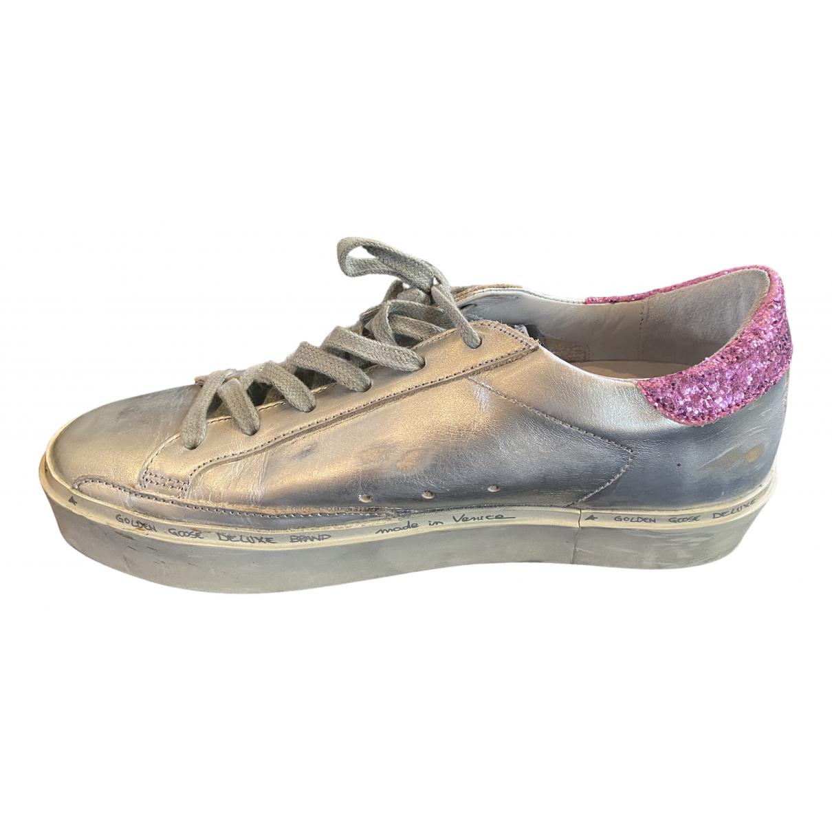 Golden Goose Hi Star Sneakers in  Silber Leder
