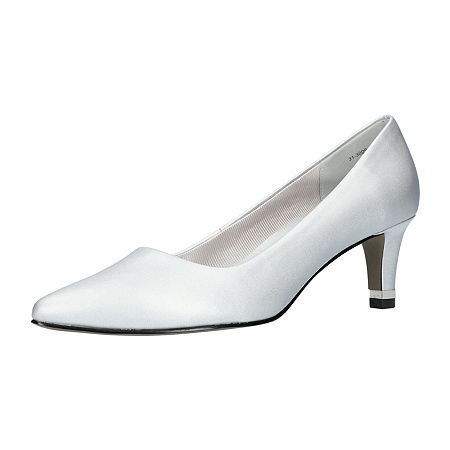 Easy Street Womens Pointed Pumps Spike Heel, 6 1/2 Wide, Silver