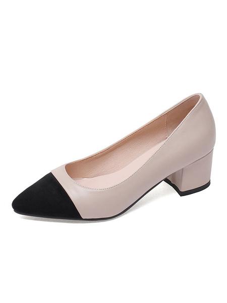 Milanoo Block Heel Pumps Suede Pointed Toe Chunky Heel Slip On Pumps For Women