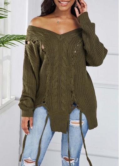 Trendy Asymmetric Hem Lace Up Off Shoulder Sweater - M