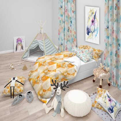 BED18613-Q Designart Gold Retro Style Modern Duvet Cover