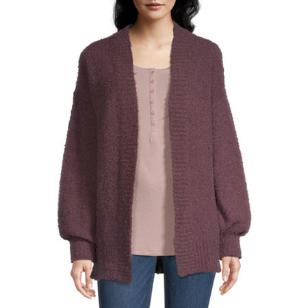a.n.a Womens Long Sleeve Cardigan, X-small , Purple