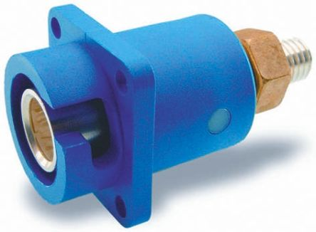 ITT Cannon , Veam Snaplock IP67 Blue Panel Mount 1P Mains Connector Socket, Rated At 250.0A, 1.0 kV