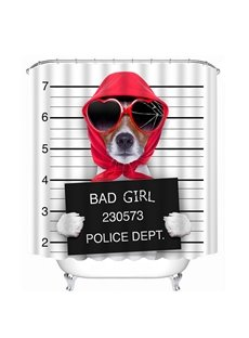 Funny Guilty Girl Dog Print 3D Shower Curtain