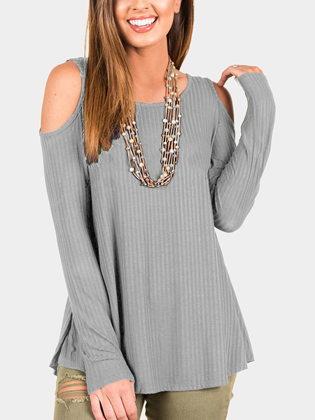 Yoins Grey Knitted Cold Shoulder Long Sleeves Casual Top