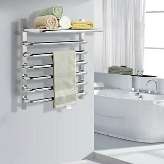 6-Bar Wall Mounted Towel Warmer Stainless Steel Towel Rack - Silver (Silver)